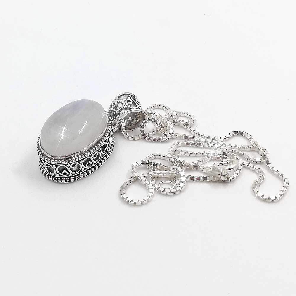Ciondolo in pietra di luna e argento Sterling 925