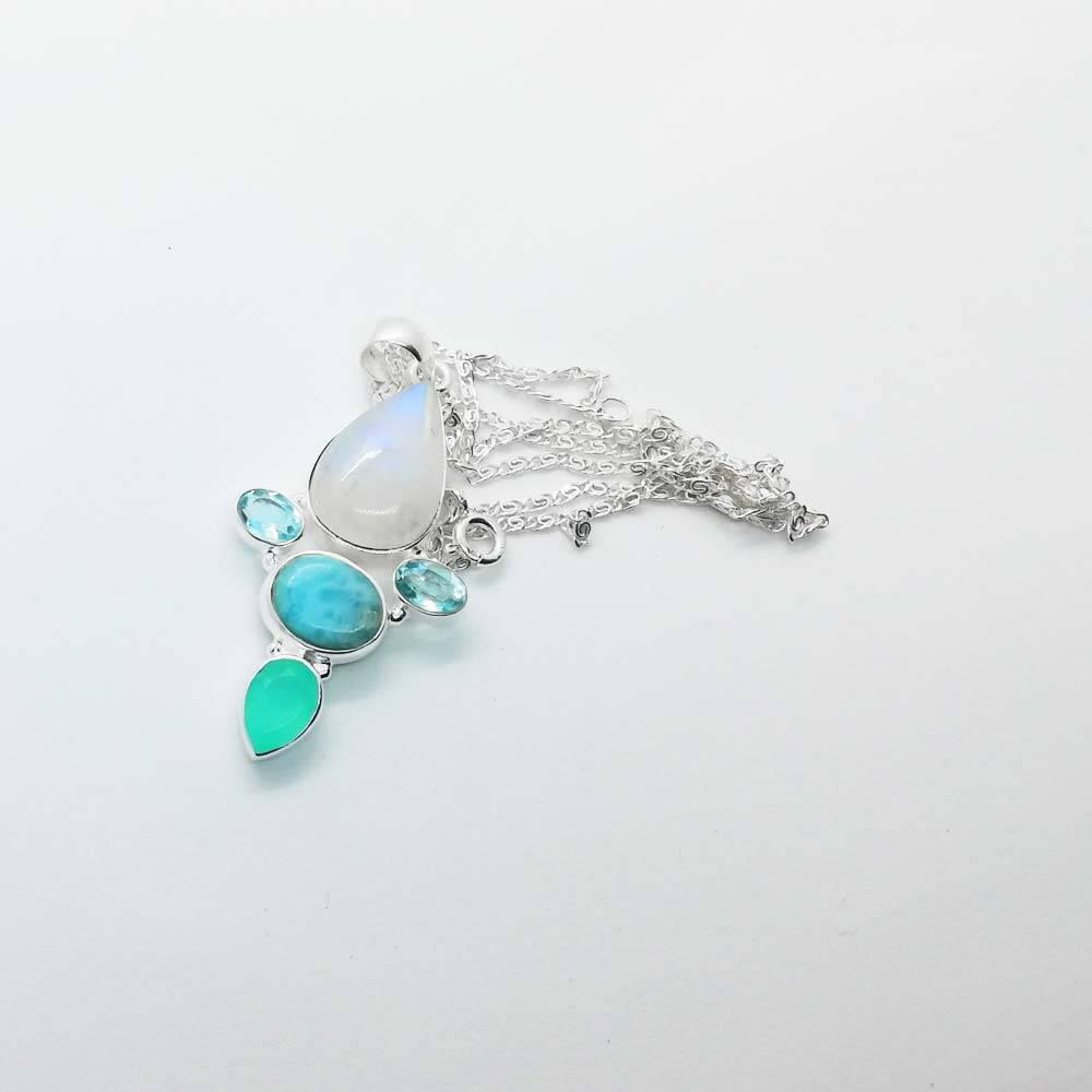 donna Blu verde Mare bracciale Braccialetto topazio pietre cristalli Naturale