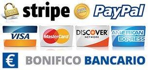 100% Sicurezza dei pagamenti con Paypal - Stripe - Bonifico Bancario